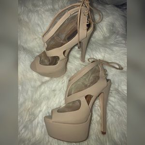 DOLLHOUSE Nude Mesh Lining Back Lace Up Heels